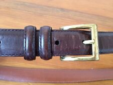 Coach Full Grain Cowhide Thick Brown Leather Belt w/ Solid Brass Buckle 36