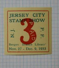 Jersey City Stamp Show 1933 Souvenir Label Ad