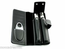 Leather Card Holder With Cigar Case  2 Oz. Tube Flask Double Blade Cigar Cutter