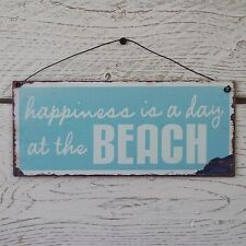 Retro Vintage Blue Seaside Metal Plaque Happiness Is A Day At The Beach Tin Sign