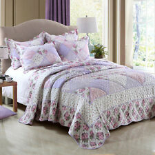Floral Patchwork Quilted Bedspreads Set Queen King Size Coverlet Throw Blanket