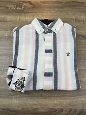 English Laundry Long Sleeve Embroidered Shirt Mens Size M Cotton / Linen Blend