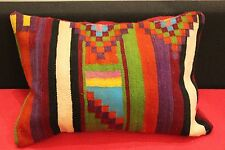 "Kilim Pillow Cushion Hand Woven Wool 16"" x 24"" New Zipper Morrocan Kilim Pillow"