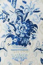 """SCHUMACHER CURTAIN FABRIC DESIGN """"Aylesbury Vase"""" 11.1 METRES DELFT 100% LINEN"""