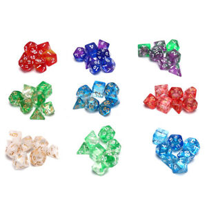 7x Transparent Sided Dice Poly Table Board Game Set ~ ME xs