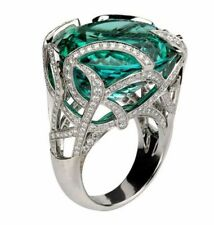 Cocktail Party Ring 925 Sterling Silver Green Round Net Style Jewelry Cz Women's
