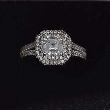 14K White Gold Asscher Cut Created Diamond Halo Women's Engagement Ring 1.5TCW