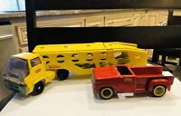 Tonka Toy Pressed Steel Yellow Car Hauler Transport Truck, Red Truck Vintage Lot