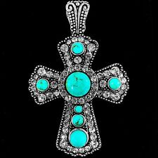 Western Cowgirl Rhinestone Turquoise Duo Color Cross Magnetic Closure Pendant 1