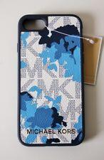 MICHAEL KORS CUSTODIA CELLULARE COVER Electronic pelle per iPhone 7 8 blu marino