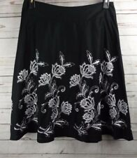 Ann Taylor A Line Skirt Size 10 Black With White Embroidery