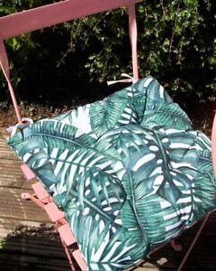 Set of 2 Garden Seat Pad Cushions Outdoor Indoor Comfortable Tropical