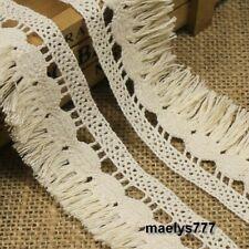 Dentelle frange pompon coton beige lot  5/20 garniture couture sac ameublement.