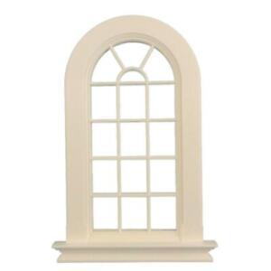 Dolls House White Plastic Georgian Tall Arched Window 16 Pane 1:12 DIY Builders
