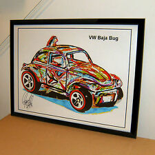 Hot Wheels VW Baja Bug Volkswagen Car Racing Poster Print Wall Art 18x24