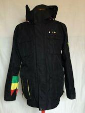 Billabong Bob Marley Mens Snow Jacket Small Black Hooded Full Zip Polyester