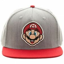 Oficial Nintendo-Super Mario Bros-Mario De Goma Parche Gris Snapback Cap
