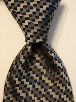 MISSONI Men's 100% Silk Necktie ITALY Luxury Designer ZIGZAG Gray/Black EUC