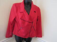 Fashion Bug Women's Size X Large Red Moto Zip Jacket Blazer EUC