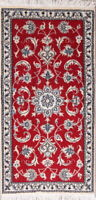 New! Hand Knotted Floral Wool Nain Oriental Area Rug Medallion RED Carpet 2x5