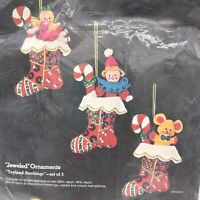 Sultana Christmas Needlecraft Jeweled Ornaments Toyland stockings set of 3
