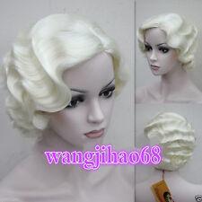 Ladies Classy Vintage Curly Wavy-Style Wig in Light Blonde Wigs + Free wig cap