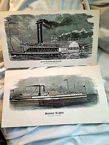 VNTG Litho Steamboat prints ,Steamers, City of New Orleans & St John on Hudson