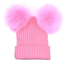 Women's Winter Beanie Outdoor Chunky Knit with Double Fur Pom Pom Cute Hat Cap