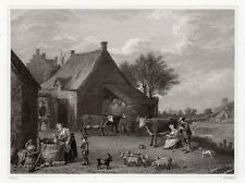 "Detailed 1800s DAVID TENIERS Engraving ""The Rustic Farmyard"" SIGNED Framed COA"