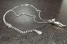 Katze Kätzchen Halskette Kette & Anhänger 925 Sterling Silber 3D Damen Schmuck
