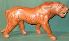 Vintage Hand-Made Leather Lion Sculpture Figure Animal Lioness Hand Crafted