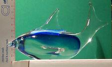 Dolphin Bottlenose Clear/Blue Iridescent Porpoise Flipper/Shark ArtGlass