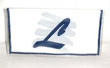 Brush Stroke Blue Initial L on White Cotton&vinyl Checkbook Cover New Handmade
