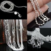 """Womens 5Pcs/Set Hot Solid Silver Bead Wave Chains Pendant Necklace 16-24"""" 1mm"""