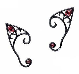 Alchemy England - Elvyn Earwraps Black Set, Earrings Elf Fairy Crystal Gothic
