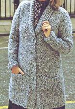 """Knitting Pattern Larger Sizes Ladies Chunky Long Cardigan 38""""-50"""""""
