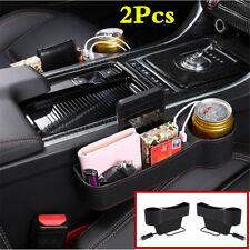 1 Pair Car Seat Gap Organizer USB Storage Box PU Leather Seat Crevice Cup Holder