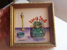 Vintage Small  painting still life on tile signed M Angelo old Japan label 5 in