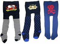 BABY BOYS TIGHTS PIRATE SKULL & CROSSBONE CARS ROBOTS TODDLER FOOTED COTTON SOFT