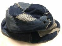 J. AUGUR DESIGN INDIGO DENIM HAT CAP PATCH WORK MEN FASHION RARE BRAND F/S
