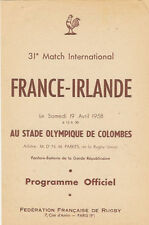FRANCE v IRELAND 19 Apr 1958 at Paris RUGBY PROGRAMME