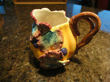 Fitz & Floyd Hand Painted Pitcher, Grape Leaves Vine Yellow Brown, Vintage 1993
