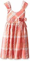 BONNIE JEAN Girls Plaid Seersucker Polka Dot Bow Party Dress Coral Size 3T NWT