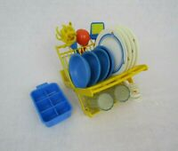 VTG Fisher Price Fun w Food Dish Rack Bowls Cups Ice Tray Dinnerware Utensils
