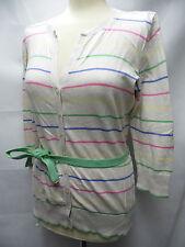 MONSOON stone beige colour stripe cotton fine knit belted 3/4 sleeve cardigan 14