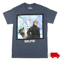 Disney Frozen Kristoff Olaf Sven Selfie Mens Size Small S T Shirt Tee Blue Gray