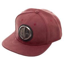 Marvel Deadpool Distressed Metal Logo Red Snapback Hat NEW