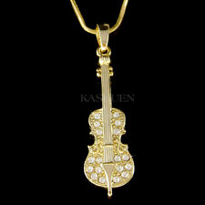~CELLO made with Swarovski Crystal VIOLIN VIOLA Fiddle MUSIC Musical GT Necklace