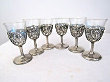 6 Elegant Silver Plated Metal Cordials with Glass Inserts