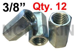 Qty 12 Hex Rod Coupling Nuts 3/8-16 x 1-1/8 Threaded Rod Connectors Zinc Coupler